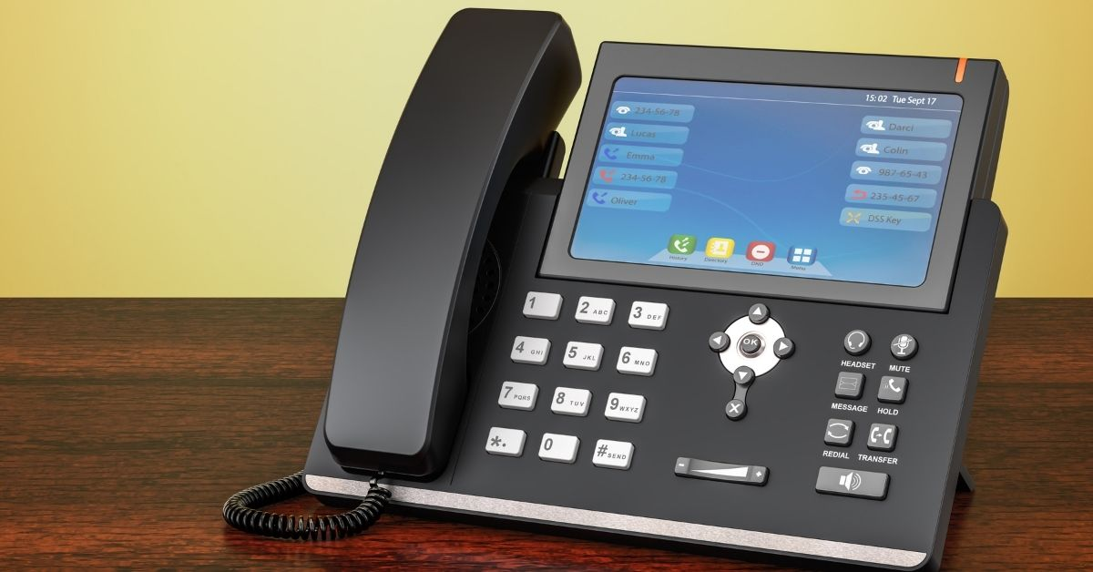 VoIP Phone On A Wooden Table